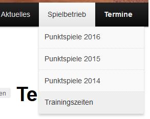 Trainingszeiten 2016
